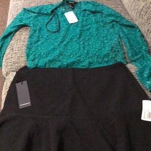 Black skirt & knit green crop top